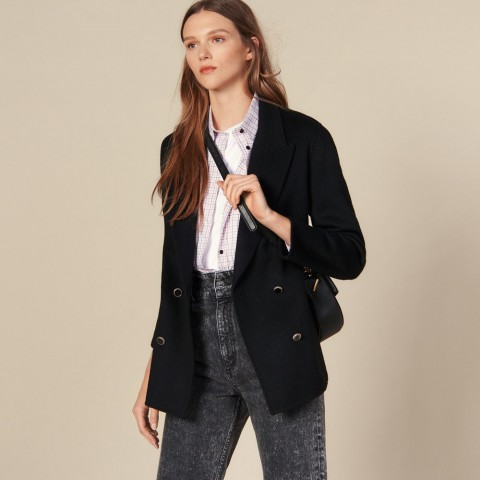 limited sale double-breasted wool blazer - black best price last chance