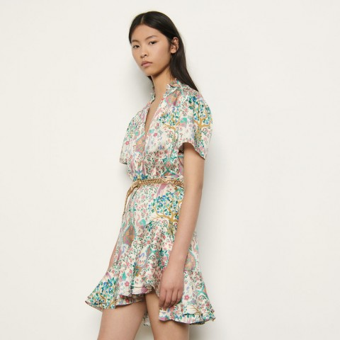 last chance short printed dress with ruffles - ivory limited sale best price