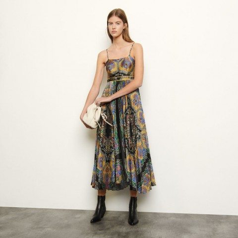last chance long printed dress with straps - black best price limited sale