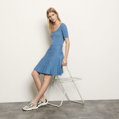 limited sale knit dress with square neckline - blue sky best price last chance