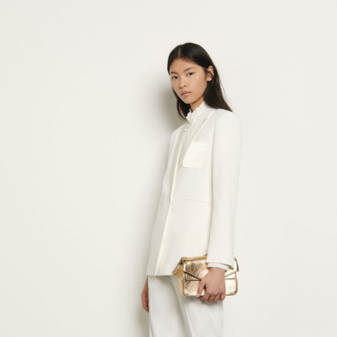 last chance dual-fabric tailored jacket - ivory limited sale best price