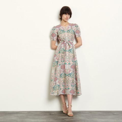 best price long printed dress - ivory limited sale last chance
