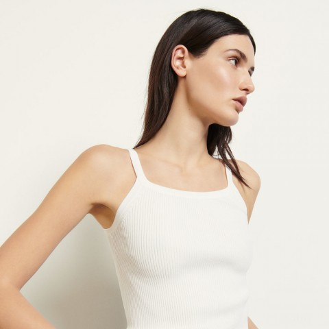 best price ribbed vest top - white last chance limited sale