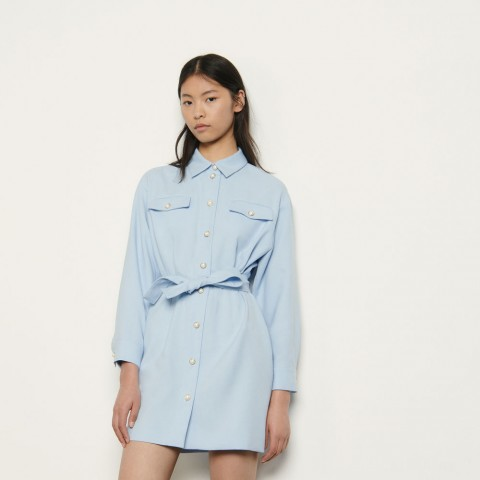 limited sale shirt dress with decorative buttons - blue sky last chance best price