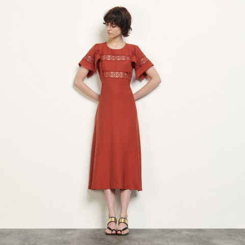 limited sale dress with lace embellishment - terracotta last chance best price
