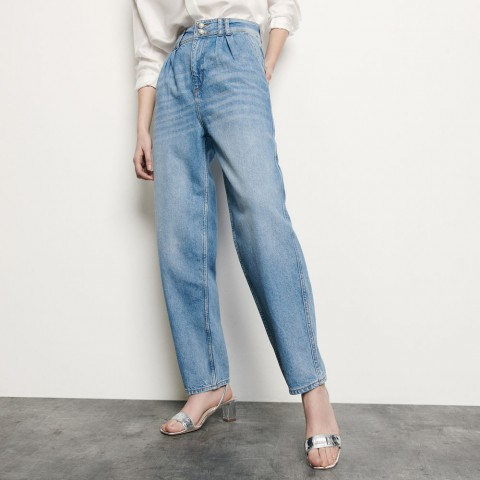 last chance high-waisted jeans with pearl buttons - blue jean limited sale best price
