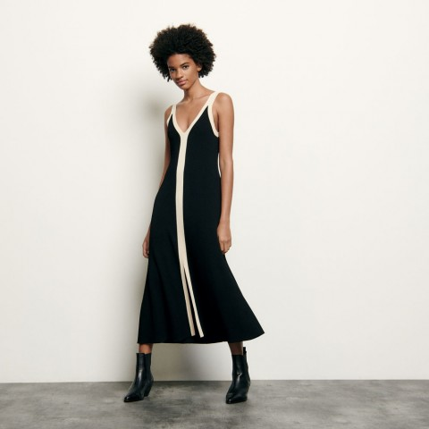 last chance long two-tone ribbed knit dress - black limited sale best price
