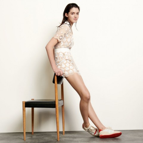 last chance broderie anglaise playsuit - beige limited sale best price