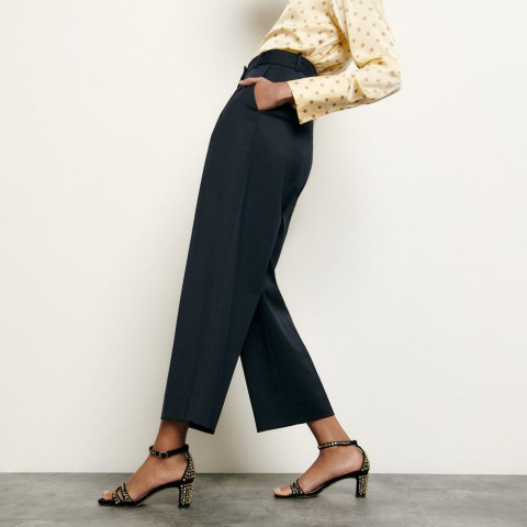 last chance tailored wool pants - navy blue best price limited sale