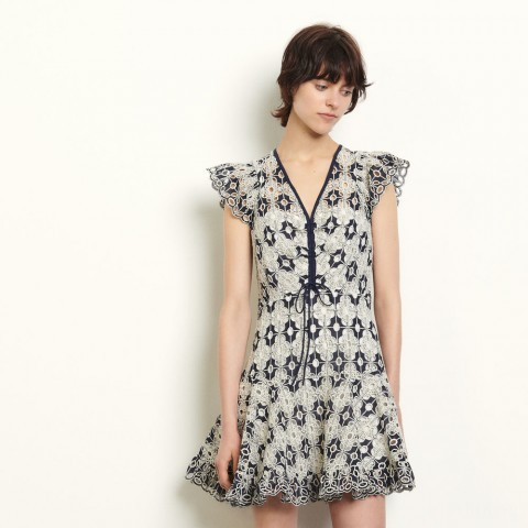 last chance short broderie anglaise dress - navy blue limited sale best price