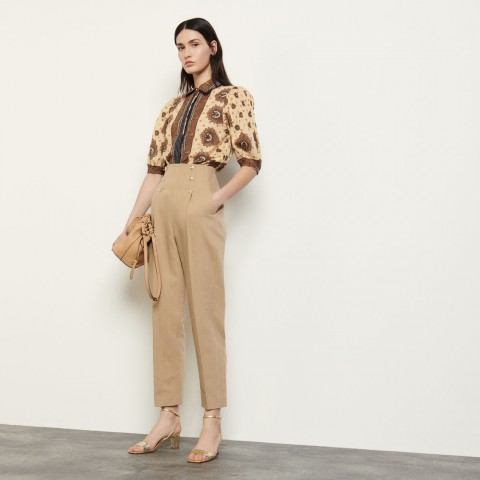 last chance high-waisted trousers with buttons - camel limited sale best price