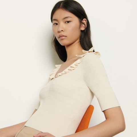 limited sale sweater with ruffles at the neckline - beige last chance best price