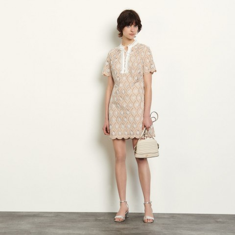 last chance short broderie anglaise dress - beige best price limited sale