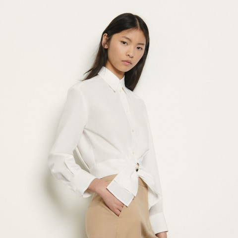 last chance cropped shirt with removable bow - white limited sale best price
