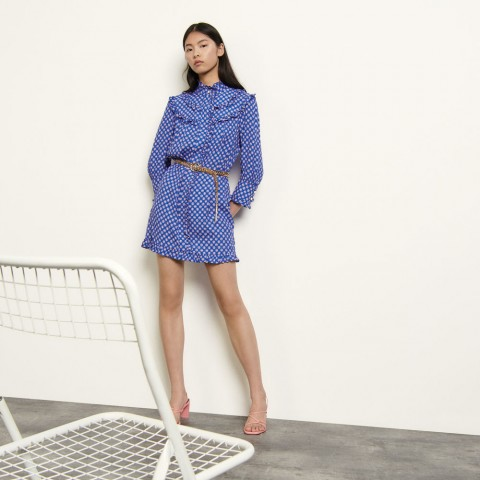 last chance long-sleeved printed mini dress - blue best price limited sale