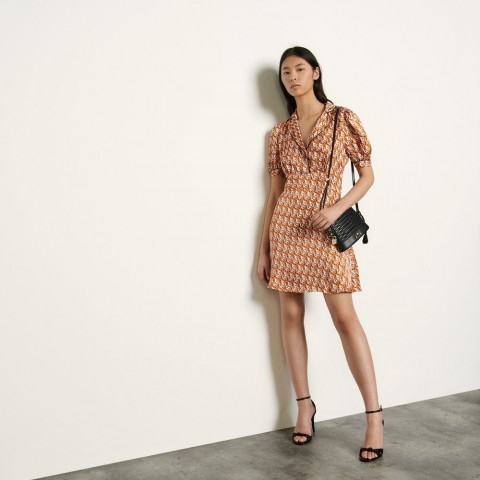limited sale short printed dress - nude last chance best price