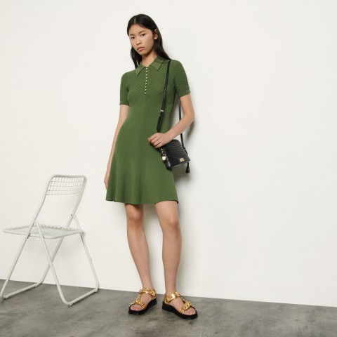 limited sale polo-style knitted dress - olive green best price last chance