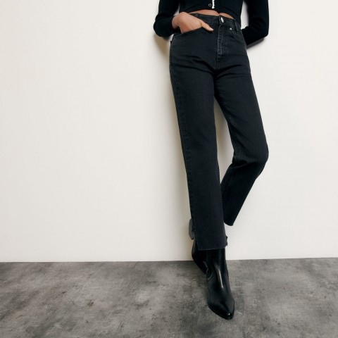 limited sale straight-cut jeans with raw edges - black best price last chance