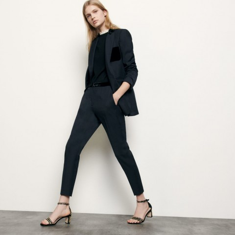 best price straight tailored pants - navy blue limited sale last chance