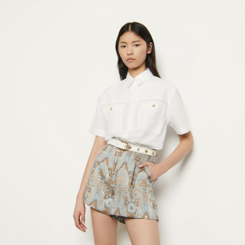 best price flared brocade shorts - gold / blue last chance limited sale