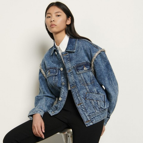 best price denim jacket finished with rhinestones - blue jean last chance limited sale