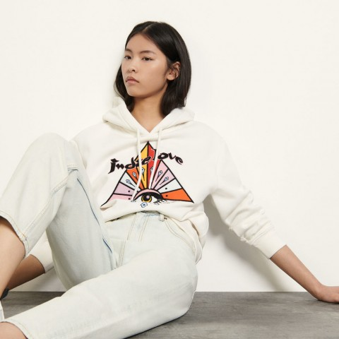 best price embroidered hoodie - white limited sale last chance
