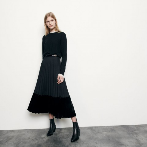 limited sale long pleated wrapover skirt - black best price last chance