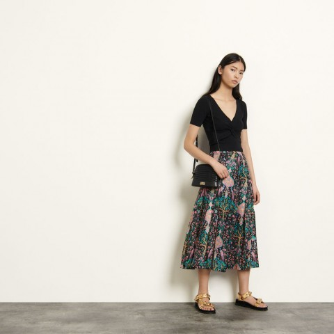 limited sale long printed skirt - black best price last chance