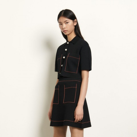 limited sale short knitted skirt - black last chance best price