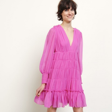 best price short voile dress with ruffles - fushia last chance limited sale