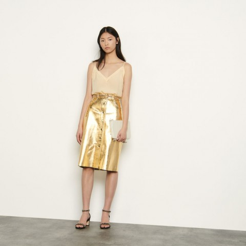 limited sale metallic leather skirt - gold best price last chance