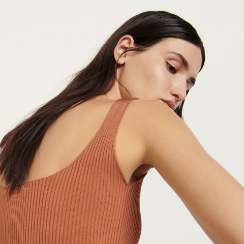 last chance ribbed knit cropped tank top - terracotta best price limited sale
