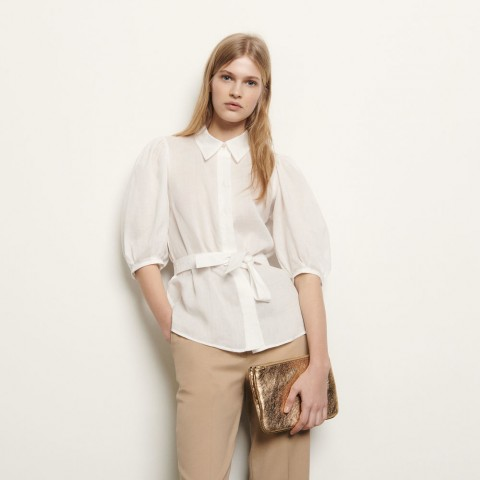 limited sale shirt with removable belt - ecru best price last chance