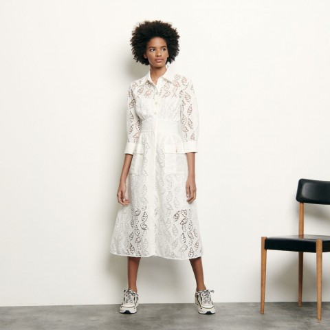 best price long shirt dress in broderie anglaise - white last chance limited sale