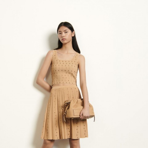 best price short knitted skirt with beads - gold last chance limited sale