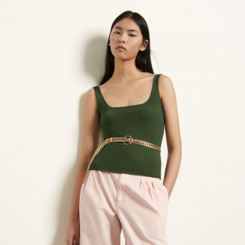 best price ribbed knit cropped tank top - olive green last chance limited sale