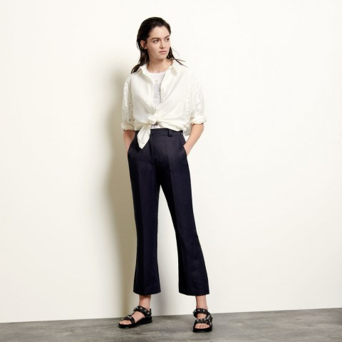 best price straight-leg trousers with pleats - navy blue limited sale last chance