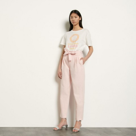last chance cotton and linen blend pants - pink best price limited sale