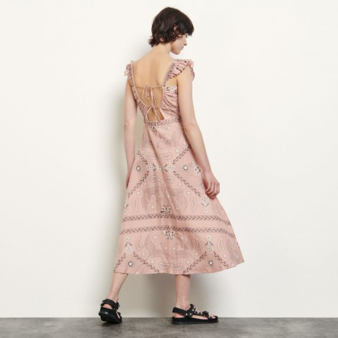 limited sale long printed dress with square neckline - powder last chance best price