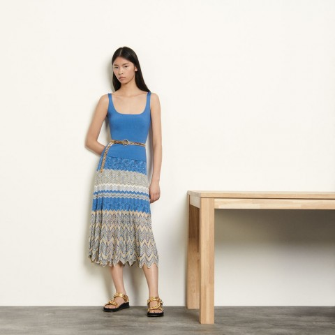 limited sale pointelle skirt with chevron stripes - beige / blue last chance best price