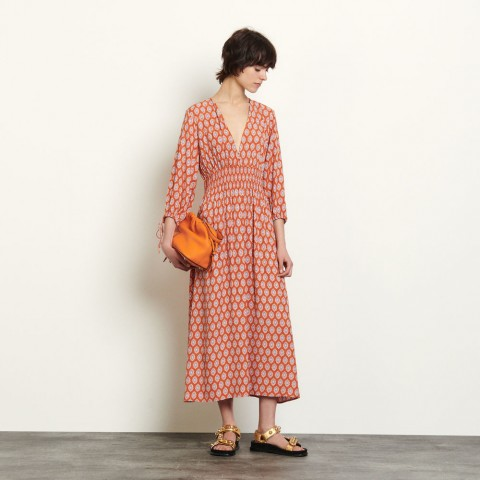 best price long dress in printed jacquard - rust last chance limited sale