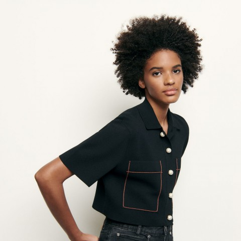 limited sale shirt-style cropped cardigan - black best price last chance