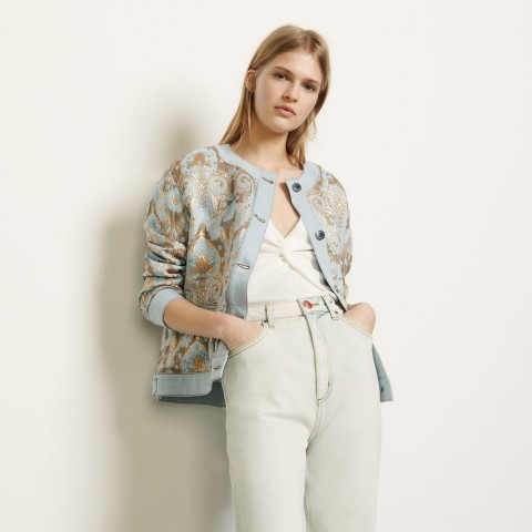 best price brocade jacket with denim inserts - gold / blue limited sale last chance