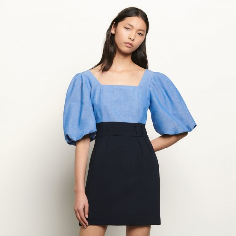 last chance dual material dress with square neckline - blue best price limited sale