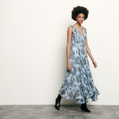 limited sale long dress in printed chiffon - blue last chance best price
