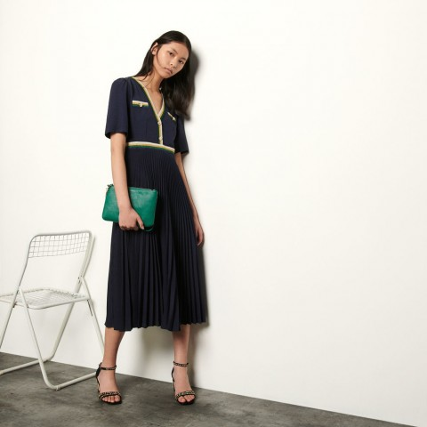 last chance long pleated dress with short sleeves - navy blue best price limited sale