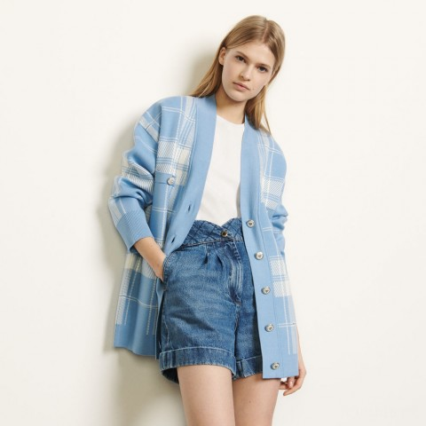 last chance oversized checked cardigan - blue sky limited sale best price