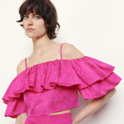 best price cropped top with ruffles - fushia limited sale last chance