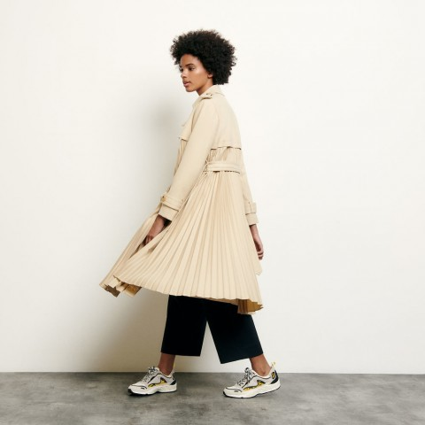 best price pleated trench coat with belt - beige last chance limited sale