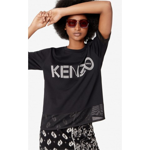 limited sale kenzo logo dual-material t-shirt - black best price last chance